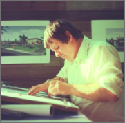Ken Bell drafting by hand